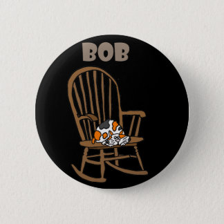 Funny Calico Cat in Rocking Chair 6 Cm Round Badge