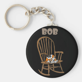 Funny Calico Cat in Rocking Chair Key Ring