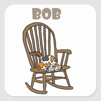 Funny Calico Cat in Rocking Chair Square Sticker