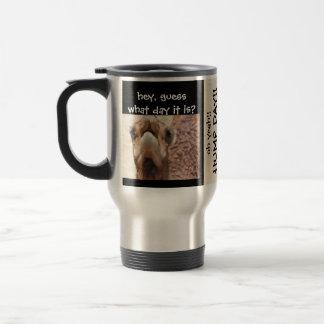 Funny Camel HUMP DAY Travel Mug, Black & Tan Stainless Steel Travel Mug