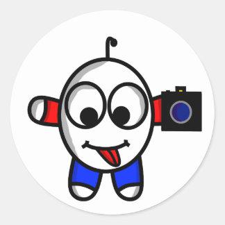 funny camera dude classic round sticker