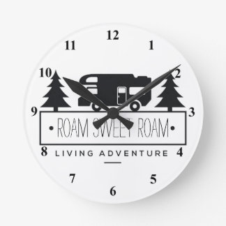 Funny Camper RV Home Sweet Home | Wanderlust Quote Round Clock