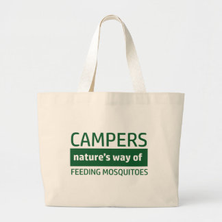 Funny Camping Designs Large Tote Bag