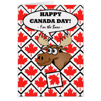 Funny Canada Day for Boss, Moose with Leaf Tiles Card