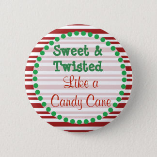Funny Candy Cane Christmas Button