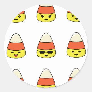 Funny Candy Corn Emoji Classic Round Sticker