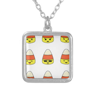 Funny Candy Corn Emoji Silver Plated Necklace