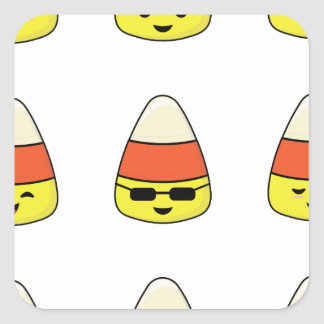 Funny Candy Corn Emoji Square Sticker