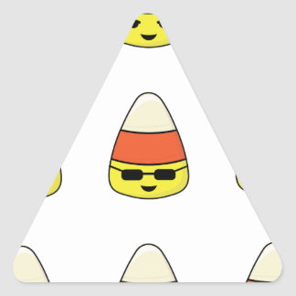 Funny Candy Corn Emoji Triangle Sticker