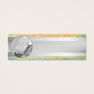Funny car and silver stripe on pastel texture mini business card