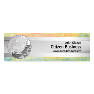 Funny car and silver stripe on pastel texture pack of skinny business cards