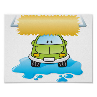 Funny Car In A Car Wash Poster