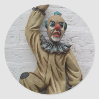 Funny Carnival Clown hanging on wall Round Sticker
