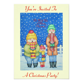 funny carol singers in the snow Christmas art 14 Cm X 19 Cm Invitation Card