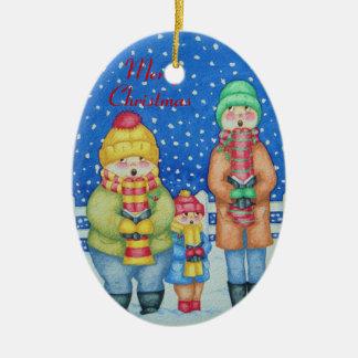 funny carol singers in the snow christmas design ceramic ornament
