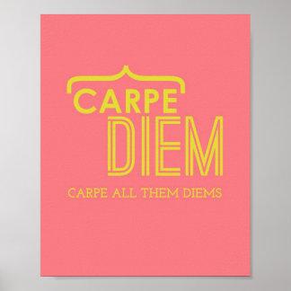 Funny Carpe Diem Poster in Pink & Gold