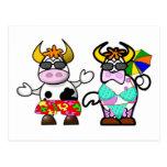 Funny Cartoon Beach Cow Couple Post Card
