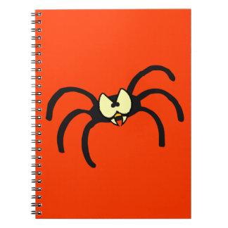 Funny Cartoon Black Spider Spiral Notebook