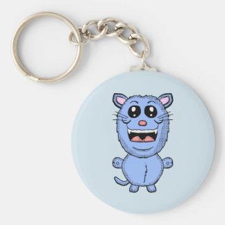Funny Cartoon Blue Cat key chain
