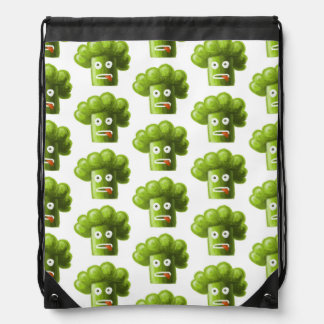 Funny Cartoon Broccoli Pattern Drawstring Bag