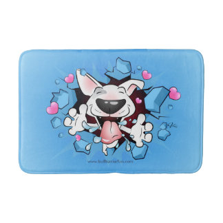 Funny Cartoon Bull Terrier Bath Mat