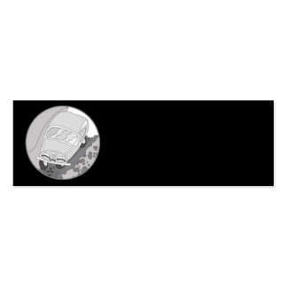 Funny cartoon car in silver on black pack of skinny business cards