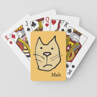 "Funny Cartoon Cat Face ""Meh"" Not Impressed Playing Cards"