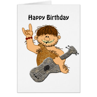 Funny Cartoon Caveman with Guitar Card Template