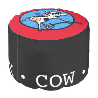 FUNNY CARTOON COW FIGHTS BACK ROUND POUF