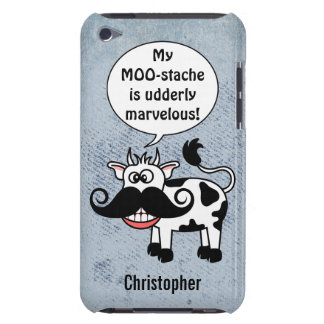 Funny Cartoon Cow Mustache Personalized Barely There iPod Cases
