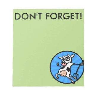 FUNNY CARTOON COW NOTEPAD