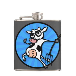 FUNNY CARTOON COW VINYL WRAPPED FLASK