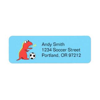 Funny Cartoon Dinosaur Soccer Return Address Label