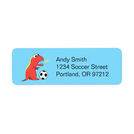 Funny Cartoon Dinosaur Soccer Return Address Label