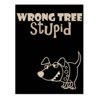 Funny Cartoon Dog Barking up the Wrong Tree Postcard