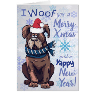 Funny Cartoon Dog Christmas Greetings Card