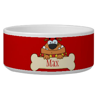 Funny Cartoon Dog Personalized Pet Bowl