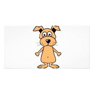 Funny cartoon dog photo greeting card