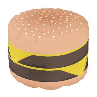 Funny Cartoon Double Cheeseburger Round Pouffe