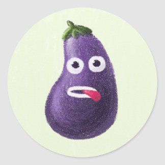 Funny Cartoon Eggplant Character Round Sticker