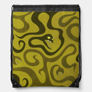 Funny Cartoon Evil Snakes Drawstring Bag