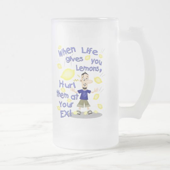 Funny Cartoon Ex-Husband / Divorce Humour Frosted Glass Beer Mug