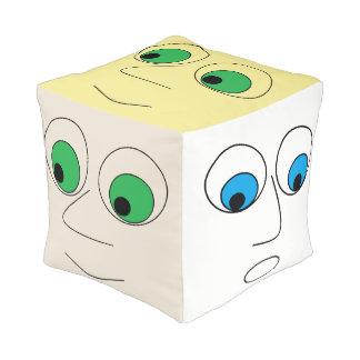 Funny Cartoon Faces Cube Pouf