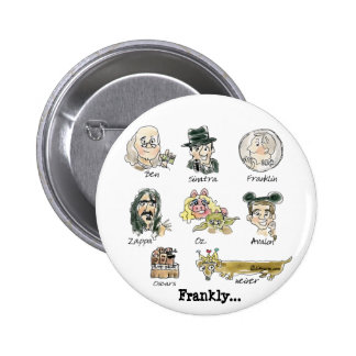 Funny Cartoon Famous Franks Round Lapel Pin