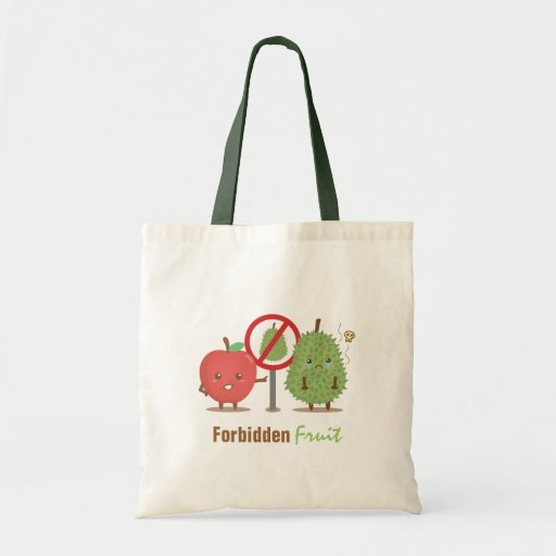 Funny Cartoon, Forbidden Fruit, Apple and Durian Tote Bags