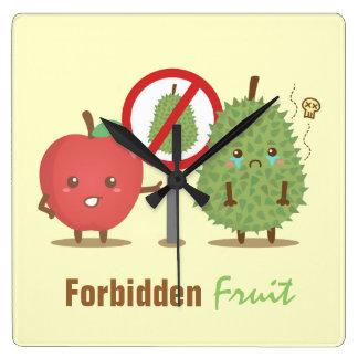 Funny Cartoon Forbidden Fruit Apple and Durian Clock