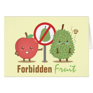 Funny Cartoon, Forbidden Fruit, Apple and Durian Greeting Card