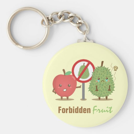 Funny Cartoon, Forbidden Fruit, Apple and Durian Key Chains