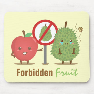 Funny Cartoon, Forbidden Fruit, Apple and Durian Mouse Pad