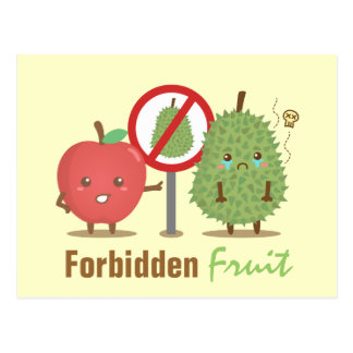 Funny Cartoon, Forbidden Fruit, Apple and Durian Postcard